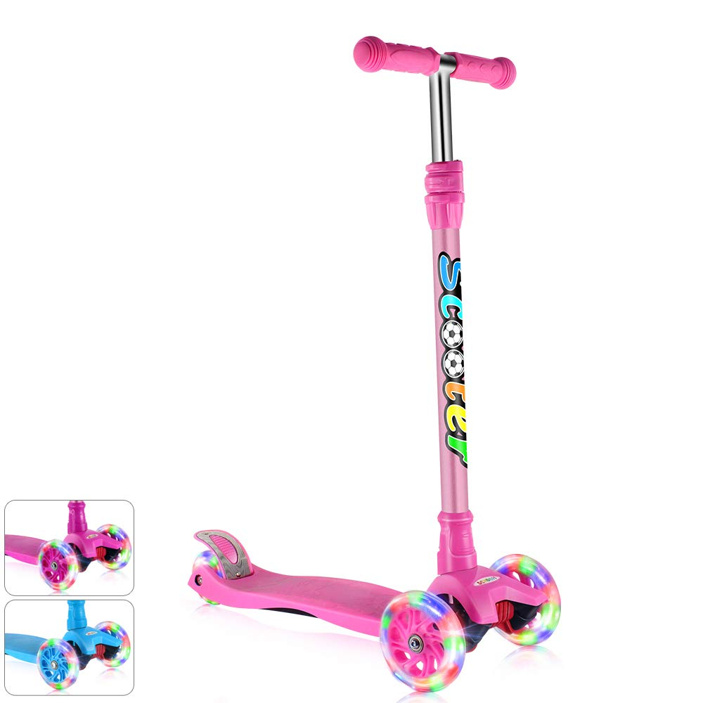 GOOGO Kick Scooter for Kids & Toddlers Girls or Boys, 4 Adjustable Height, Extra-Wide Deck, Lean to Steer with PU Light Up Wheels for Children from 3 to 14 Year Old, Pink