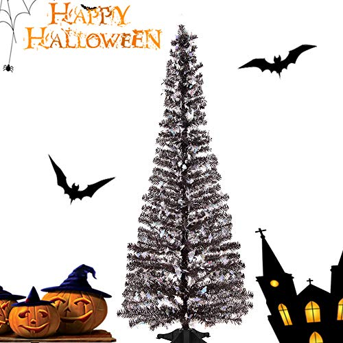 Joy-Leo 5 Foot Pop-up Halloween Christmas Tree with Ghost Cut Out Sequins, Black Ghost Tinsel Tree for Halloween Decoration with Plastic Stand, Collapsible & Reusable
