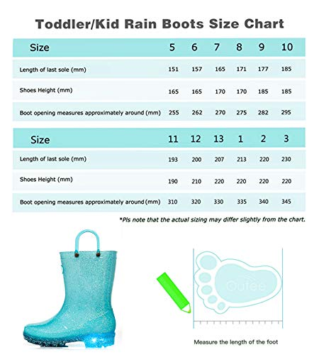 Pictures of Outee Toddler Girls Kids Light Up Rain GLP18ABLU6 Light Up Blue 2