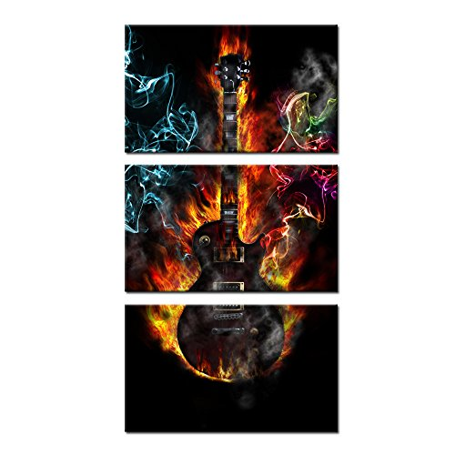 Kreative Arts 3 Pieces Music Canvas Prints Burning Fire Guitar Wall Art Passion Posters and Prints Contemporary Painting Gallery Wrapped Art work for Home Walls 12x20inchx3pcs
