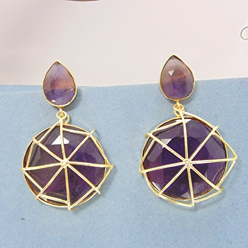 Handcrafted 22k Gold Vermeil Purple Amethyst Gemstone Birthday Gift Dangle Earrings