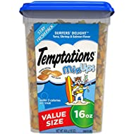 TEMPTATIONS MIXUPS Crunchy and Soft Cat Treats Surfer's Delight Flavor, 16 oz. Tub