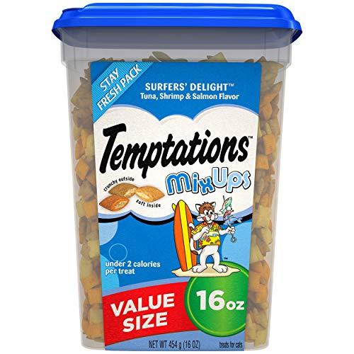 TEMPTATIONS MixUps Treats for Cats SURFER'S DELIGHT Flavor - 16 Oz Tub