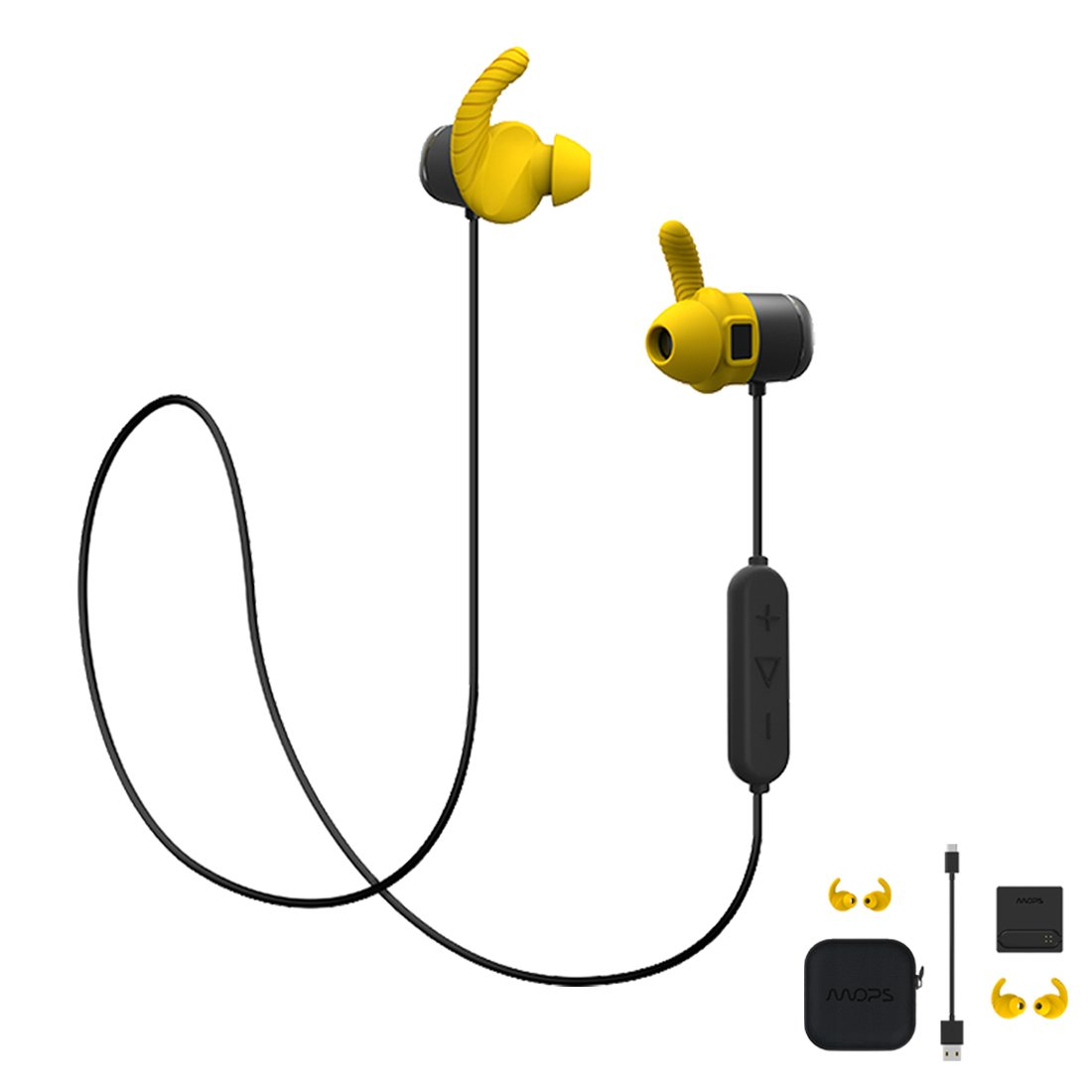 MOPS Sport Bluetooth Headset Sweat Proof Fitness & Running with Heart Rate Monitor Activity Tracker Yellow 8GB Offline Memory