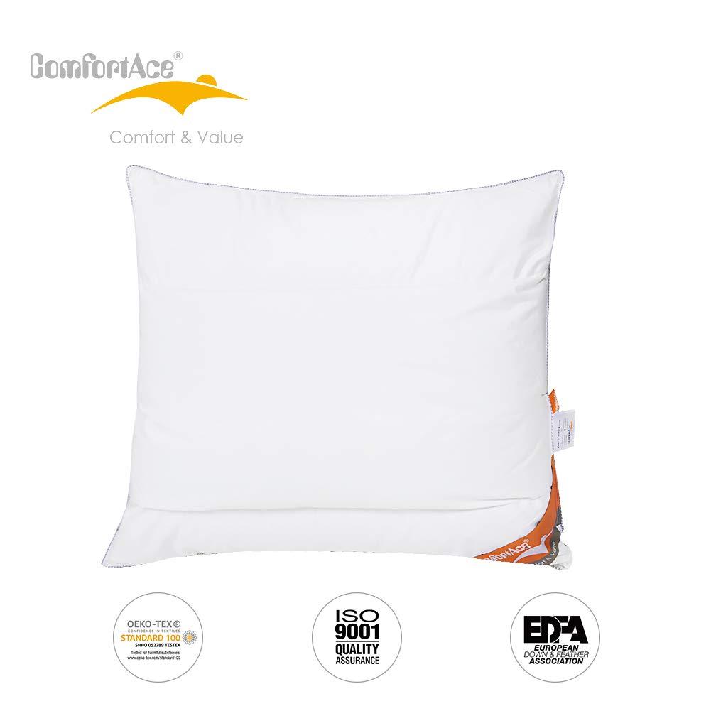 ComfortAce Strauss 60x70 cm Kopfkissen Federkissen Daunenkissen Hochwertiges Kissen mit 100% Baumwollebezug mit Gänsedaunen Füllung Soft und Stützend,Anti-Milben Waschbar,Weiß MEHRWEG