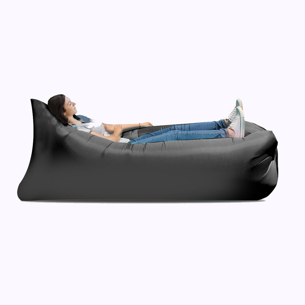 Inflatable Bed Inflatable Sofa Bed, Inflatable Bed, Portable Waterproof Leak-proof Air Cushion Sofa Bed, Camping Supplies, Hiking Air Chair ( Color : Black ) by JYKJ