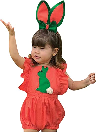 Newborn Baby Girl Easter Clothes Rabbit Romper Bunny Bodysuit Ruffled Jumpsuit Halter Playsuit Backless Sleeveless Outfit