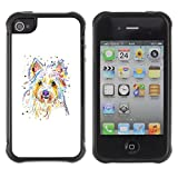 TIKTAKTOK CASE Apple Iphone 4 / 4S - Yorkshire Terrier Brussels Griffon Dog - Rugged Armor Slim Protection Case Cover Shell