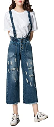 b442db0a1ee8 Luodemiss Women s Summer Wide Leg Elastic High Waist Denim Jumpsuits BF  Distressed Adjustable Straps Jeans 29