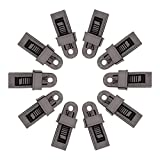 SZHOWORLD 10PCS Black Heavy Duty Outdoor Camping Tarp Clips Sliding-Lock Grip Tent/Awning Clamps Tie Downs (10PCS Large Size)
