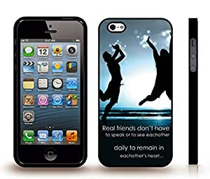 "iStar Cases? iPhone 5/5S Case with ""Real friends don't have to..."" Inspirational, White Font, Jumping on Beach , Snap-on Cover, Hard Carrying Case (Black)"