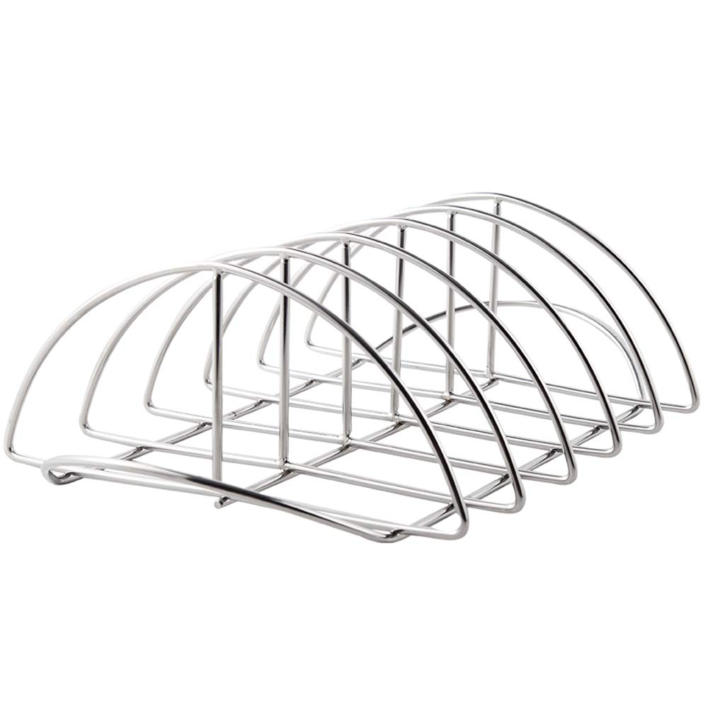 FIRECOW Rib Rack,BBQ Ribbed Stainless Steel Rib Roast Holder, Fit for Big Green Egg, Kamado Joe, Vision, Grill Dome, Primo Grills and All Indoor Ovens by FIRECOW