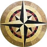 Tile Floor Medallion Marble Mosaic Compass Star Design 42''