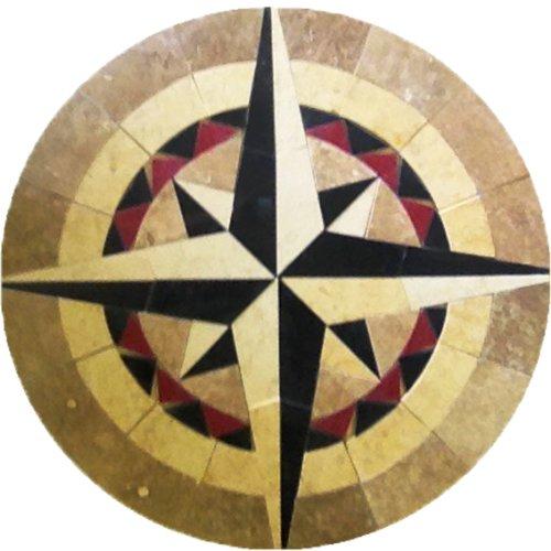 Tile Floor Medallion Marble Mosaic Compass Star Design 42