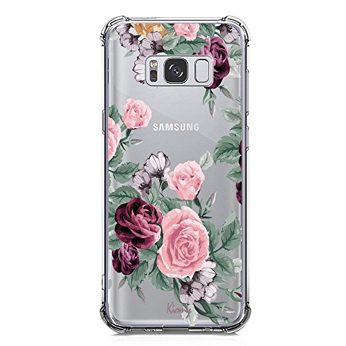 Galaxy S8 Plus Case for Girls Clear with Purple Flowers Design Shockproof Bumper Protective Case for Samsung Galaxy S8 Plus Flexible Silicone Slim Fit Cute Floral Pattern Print Rubber Cover for Women