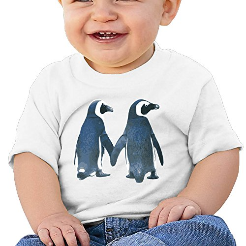 Price comparison product image Boss-Seller Lovely Penguin Couple Short-Sleeve Tee For 6-24 Months Boys & Girls Size 24 Months White