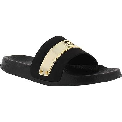 70db0ccd8557 Amazon.com  Michael Kors Girl s Jett Floe Slides Black 11C  Shoes