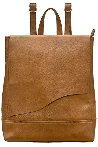 ili 6501 Leather Raw Edge Backpack Handbag (Antique Saddle) by ILI