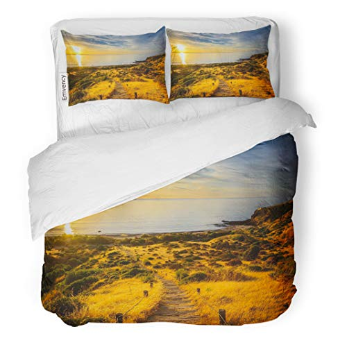Semtomn Decor Duvet Cover Set Twin Size Yellow Landscape Hallett Cove Boardwalk at Sunset South Australia Blue Adelaide 3 Piece Brushed Microfiber Fabric Print Bedding Set Cover -