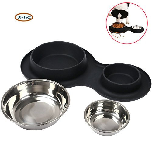 Pet Basic Bowls Puppy Food Bowls Stainless Steel Dog Cat Bowls with No Spill Non-Skid Silicone Mat 15oz and 50oz Feeder Bowls for Small Dogs Cats Pet-Black