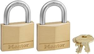 Master Lock 140T Solid Brass Keyed Alike Padlock, 2 Pack