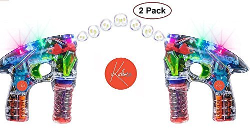 Gun Led (Bubble Gun Blower Machine - Pack Of 2 Light Up LED Transparent Blaster - For Kids, Playing, Outdoors, Indoors, Gifts, And Party Favors - 1 Bubble Solution And Batteries Included - By Kidsco)