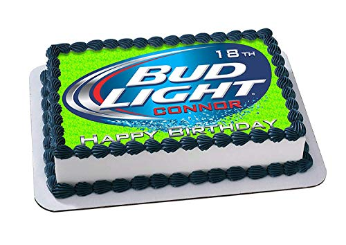 EdibleInkArt Bud Light Beer Edible Cake Topper Personalized Birthday 1/4 Sheet Decoration Custom Sheet Party Birthday on Wafer Rice Paper