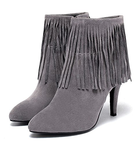 Aisun Womens Elegant Fringed Pointed Toe Dress Side Zipper Stiletto High Heel Booties Shoes Gray uzw6nSvPY