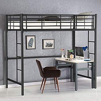 Amazon Com Costzon Twin Metal Loft Bed Metal Bunk Bed