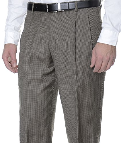 Tasso Elba Mens Brown Houndstooth Double Pleated Wool Dress Pants-30X30