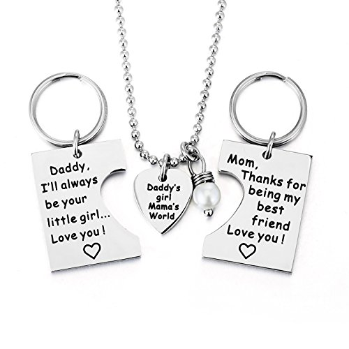 ELOI Gifts for Daughter, Daddy's Girl Mommy's World Mother Father Necklace Keychain Pendant Jewelry Set Dad Mom Christmas Birthday Gift