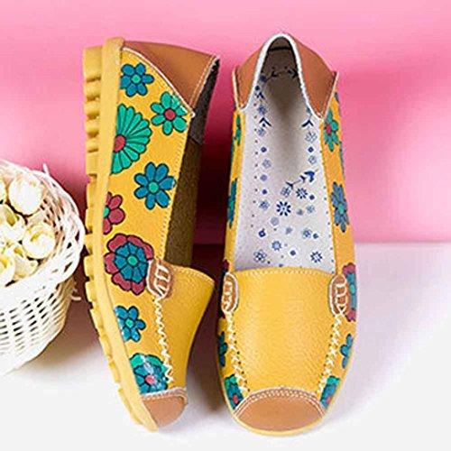 Vovotrade Zapatos casual de cuero para mujer Amarillo