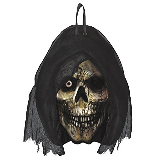 [Amscan Creepy Cemetery Halloween Party Grim Reaper Head Hanging Sign Decoration, Black, 11 1/2