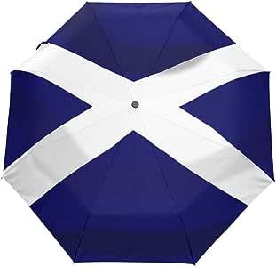 Cool Scottish Flag Auto Open Close Handle Umbrella Cute Woodproof Compact Rain Umbrella