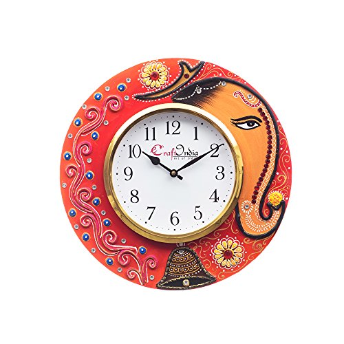 eCraftIndia Analog Wall Clock Red  amp; Green, with Glass