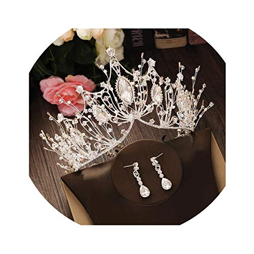 Bridal Jewelry Set Rhinestone Crystal Tiara Silver Crown Earrings Wedding Necklace Set Accessories