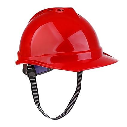 MagiDeal Casco de Seguridad Casco Duro Ventilado para Trabajo Construcción - rojo