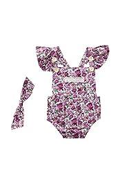 Vincent&July Infant Baby Girls Romper Floral Ruffles Backless+Headband