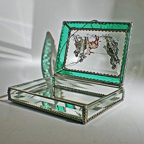 Cowboy, Team Roper, Rodeo, Stained Glass Jewelry Box, Presentation Box, Keepsake Box, Glass Jewels, Swarovski Crystals, USA Made