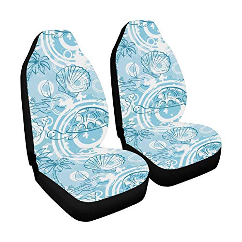 INTERESTPRINT Palm Trees, Boat, Turtles, Shells, Contours Seat Protector for Car, Truck, SUV