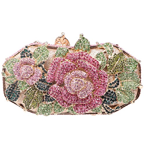 Rose Flower Clutches And Bags For Women Crystal Evening Handbags Colorful