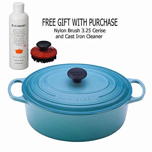 Le Creüset 8-Quart Oval Dutch Oven, Caribbean with Nylon Brush 3.25 Cerise and Cast Iron Cleaner, Gift With Purchase