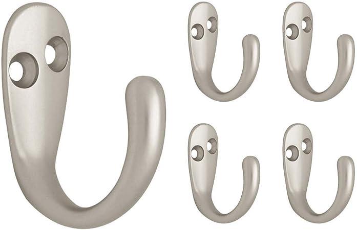 Franklin Brass Fbdprh5-Mn-C Double Prong Robe Hook 5-Pack Matte Nickel 5 Piece