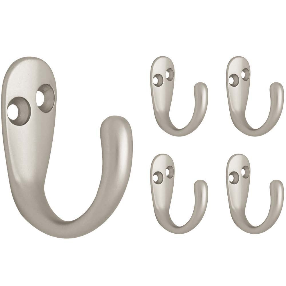 5 Pack Matte Nickel Liberty Hardware Franklin Brass sa-38 FBSPRH5-MN-C Single Prong Robe Hook