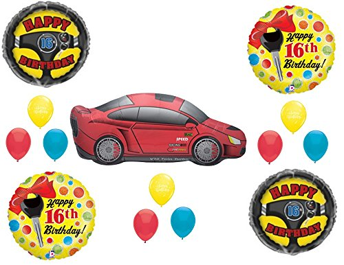 Mylar Driver (CAR 16TH Sixteen Birthday Party Balloons Decoration Supplies Race Keys Drive)