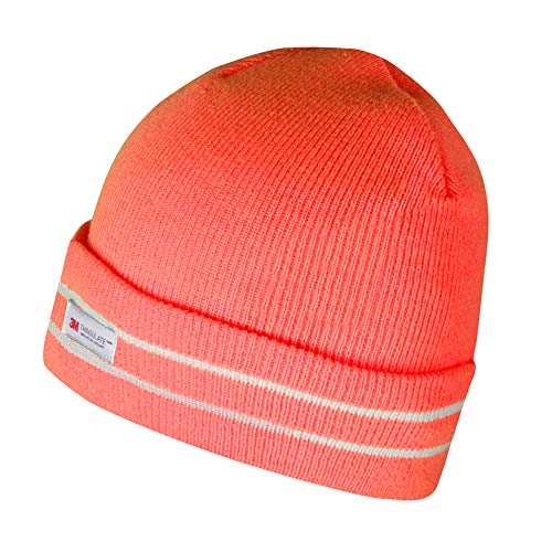 Evridwear Winter 3M Thinsulate Thermal Watch Cap Hat, Fleece Lined Beanie for Running, Skiing,Motorcycle & Bikes for Men and Women (Hivis Orange)