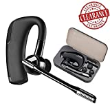 Bluetooth Headset, HH Hands Free Wireless Earpiece with Microphone + Portable Case - Compatible with iPhone, Android Cell Phones (Black&PC)