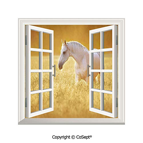 (SCOXIXI Removable Wall Sticker,White Orlov Trotter Horse in Rye Field Rustic Environment Autumn Sunset Farm,Window Sticker Can Decorate A Room(26.65x20 inch))