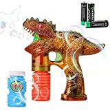 Shinehalo LED Bubble Gun Shooter LED Light Dinosaur Toys, with Two Bubble Solutions and Three Batteries, Light-Up Bubble Blowing Gun Kids Toys
