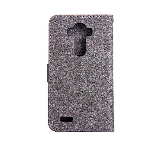 Funda LG G4, Carcasa LG G4, Funda de brillo LG G4, Lifetrut Sólido Shiny Sparkle Libro de Estilo de Cuero con Ranura para Tarjetas de Cierre Magnético Soporte Funda de Teléfono de la Función con Corre E202-Gris